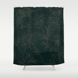 Emerald Vintage Chinoiserie Botanical Floral Toile Wallpaper Pattern Shower Curtain