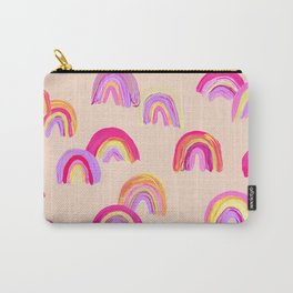 Abstract Rainbow Arcs – Pink Palette Carry-All Pouch