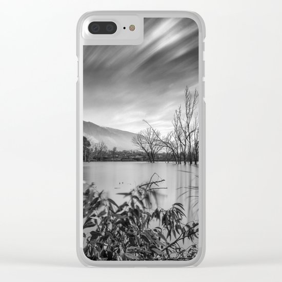 """""""Windy Clouds"""". At the lake. BW Clear iPhone Case"""