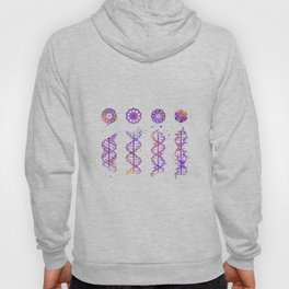 DNA Helix A-B-C-Z Genetic Art Colorful Purple Watercolor Gift Doctor Gift Evolution Art Hoody
