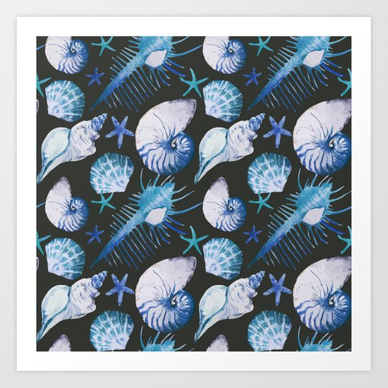 Sea Life Pattern 06 Art Print