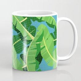 Tropical Polka Dot Jungle Banana Leaves Coffee Mug