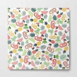 Cute funny animals summer tropical fruit pattern Metal Print