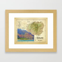 Island of Kauai [vintage inspired] Na Pali Coast road map Framed Art Print
