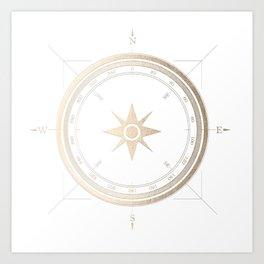 Gold Compass on White II Art Print