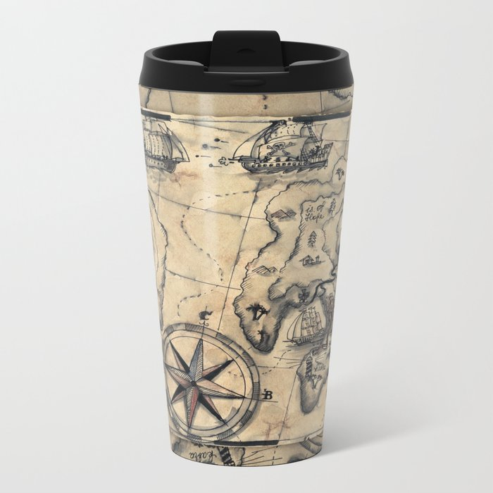 Old Nautical Map Metal Travel Mug