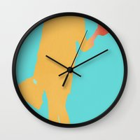 lobster Wall Clocks featuring Lobster by Michael Fitzgerald