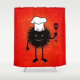 Evil Bug Chef Loves To Cook Shower Curtain