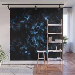 Triangle Geometric Blue Smoky Galaxy Wall Mural