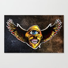 Happy Cycloptic Dog Eagle with a Stache (scratch back) Canvas Print