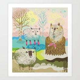 Sheep chillaxing Art Print