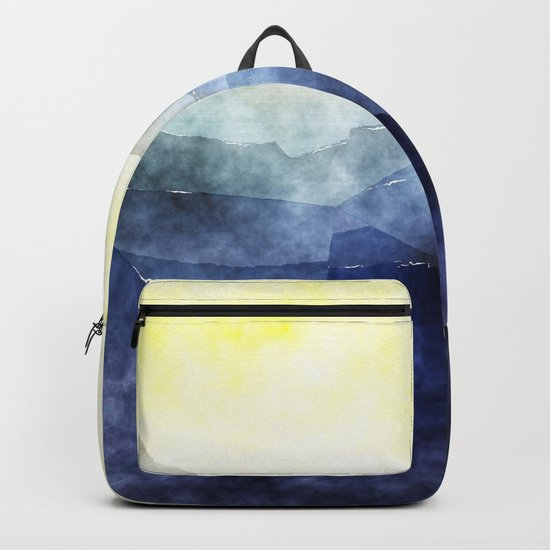 Sun behind the mountains - Modern abstract triangle pattern Backpack