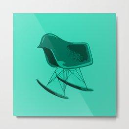 Rocker Chair Blue Metal Print