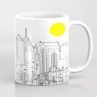 blueprint Mugs featuring Philly Blueprint BW by ralexandertrejo