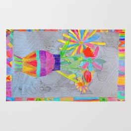 Flower Vase   Kids Painting   3D Collage Rug