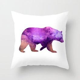 Galaxy Watercolor Bear Purple Throw Pillow