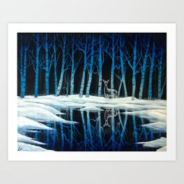 """""""The Forest of Dean"""" (Bob Ross-style Patronus Painting) Art Print"""