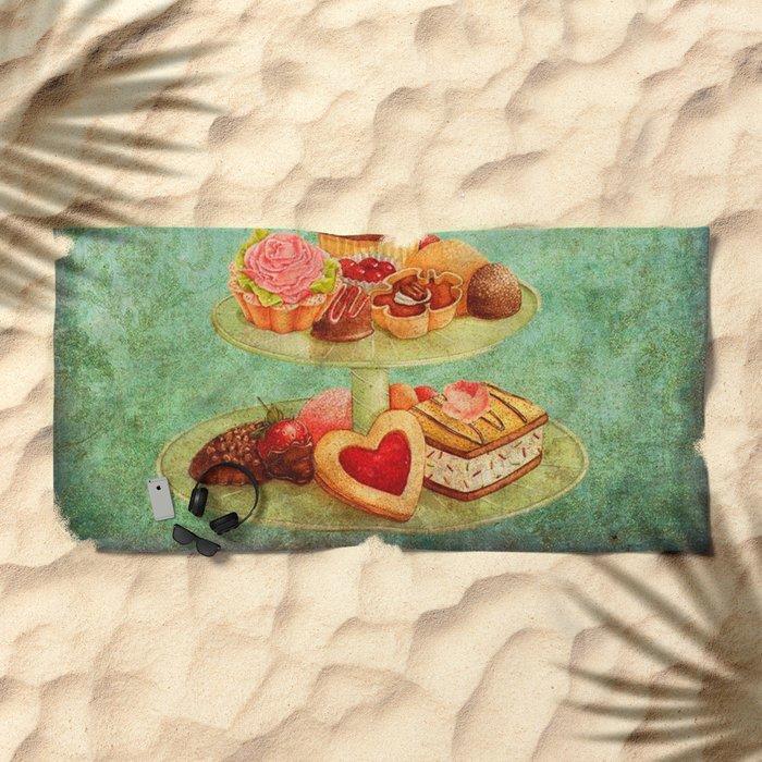 Sweets Vintage Poster 04 Beach Towel