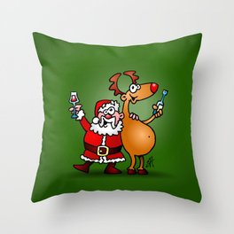 Santa Claus and his Reindeer Throw Pillow