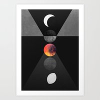 moon phases Art Prints featuring Phases by Elisabeth Fredriksson