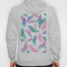 Pastel pink turquoise hand painted watercolor feathers pattern Hoody