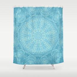 Abstract blue thistle mandala Shower Curtain