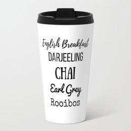 Tea List English Breakfast Chai Earl Grey Rooibos Darjeeling Travel Mug