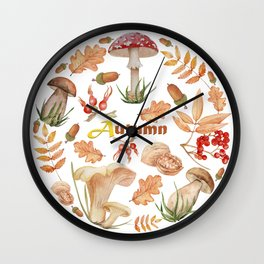 A set of watercolor mushrooms, autumn leaves, acorns, red ripe berries and nuts. Autumnal forest floral ornamental composition, isolated on white background. Wall Clock