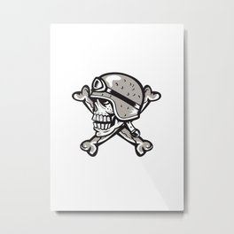 Skull Bones Bike Helmet Side Retro Metal Print