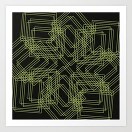 Green Circle Black Art Print