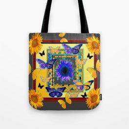 FANTASY ART PURPLE & YELLOW BUTTERFLIES SUNFLOWER Tote Bag