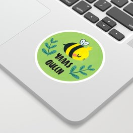'Yass Queen' Queen Bee Illustration Sticker