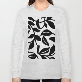 LEAF AND VINE SWIRL IN BLACK AND WHITE PATTERN Long Sleeve T-shirt