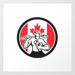 Canadian Drainlayer Canada Flag Icon Art Print
