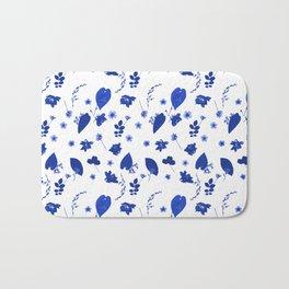 Blue Floral Pressed Flower and Leaf Pattern Bath Mat