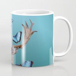 Deer Head with blue morph butterflies around Coffee Mug