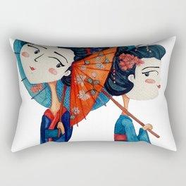Blue Geishas Rectangular Pillow