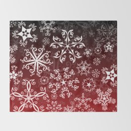 Symbols in Snowflakes on Holly Berry Throw Blanket