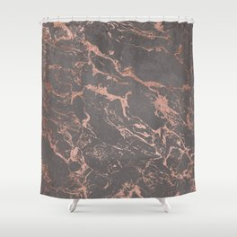 Modern Grey cement concrete on rose gold marble Shower Curtain
