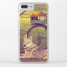 Wolfdog and flowers Clear iPhone Case
