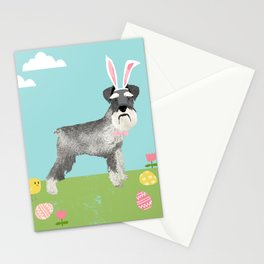 Schnauzer easter dog breed pet pattern rescue dog schnauzers lovers spring easter eggs Stationery Cards