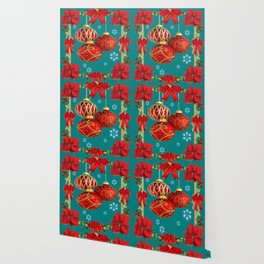 TEAL COLOR RED CHRISTMAS  ORNAMENTS &  POINSETTIAS FLOWER Wallpaper