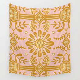 Boho Florals Yellow White Pink Wall Tapestry