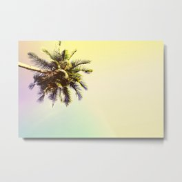 Coco Palm Tree in Yellow Tropical Sunset Metal Print