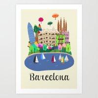 barcelona Art Prints featuring Barcelona  by uzualsunday