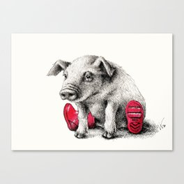Piggy in Welly Canvas Print