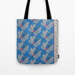 Blue Bell – Scandinavian folk art – Silver flower Tote Bag