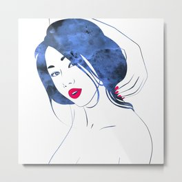 Red Maquillage Metal Print