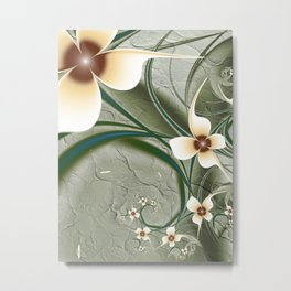 Fractal Doodadling with Flowers Metal Print