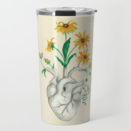 Floral Heart: Sunflower Human Anatomy Christmas Gift Travel Mug